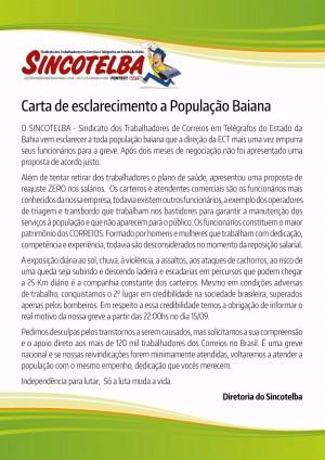 Carta de esclarecimento a população Baiana