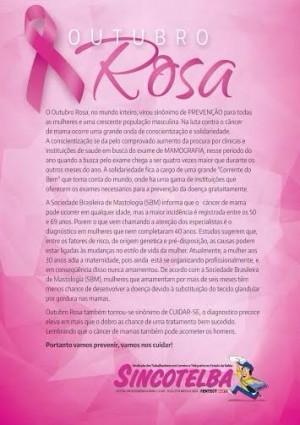 Sincontelba no Outubro Rosa na luta contra o câncer de mama