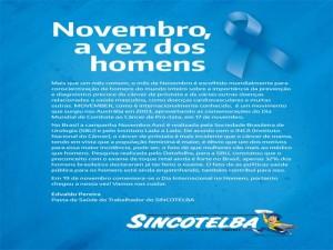 Novembro Azul: Sincotelba na luta contra o câncer de próstata. Só a luta muda a vida!