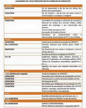 Calendário de Luta para o enfrentamento contra o projeto de Privatização dos Correios.