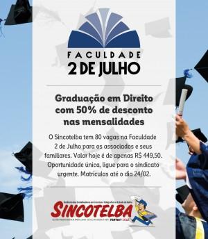 Graduação com 50% de desconto na 2 de Julho