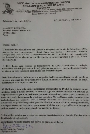 Sincotelba solicita direito de Respostas em veículos de comunicação do Brasil