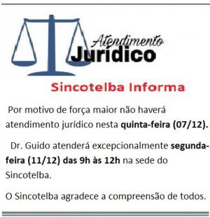Informe jurídico - Dr. Guido atenderá dia 11/12