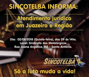 Sincotelba realizará atendimento jurídico para associados de Juazeiro e região