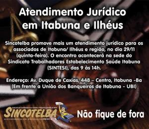Dia 29/11 acontece em Itabuna e Ilhéus atendimento Jurídico para os associados
