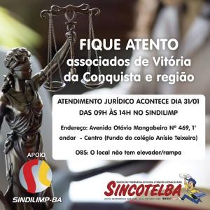 Atenção associados de Vitória da Conquista e região - Atendimento jurídico acontecerá no dia 31