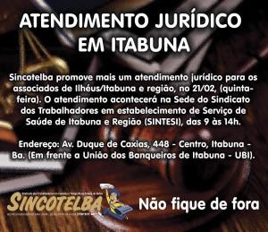 Jurídico do Sincotelba vai até Ilhéus/Itabuna e região dia 21/02