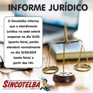 Atendimento Jurídico em suspenso dia 13/03
