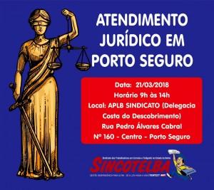 Os advogados do Sincotelba irão fazer atendimento jurídico em Porto Seguro, dia 21