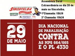 Sincotelba convoca todos os trabalhadores para dia o Nacional de Luta e Paralisação