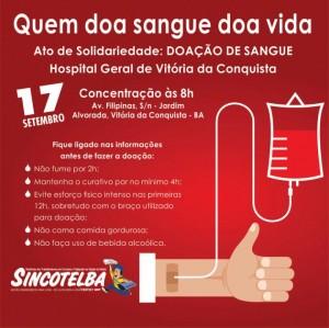 Ato de Solidariedade - Trabalhadores de Vitória da Conquista e região vão doar sangue
