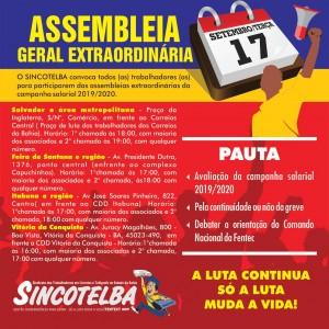 Assembleia 17/09 para avaliar a continuidade ou não da greve