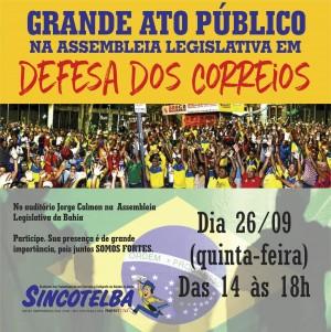 Sincotelba participará dia 26/09 da Audiência Pública na Assembleia Legislativa da Bahia