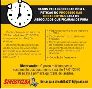 Sincotelba informa: Entrega de documentos para p processo das horas extras é até o dia 17